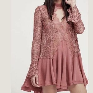 Free People Dusty Pink Mauve Tell Tale Lace Dress